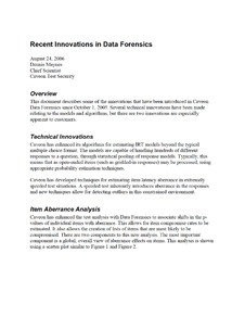 Caveon White Paper: Recent Innovations in Data Forensics