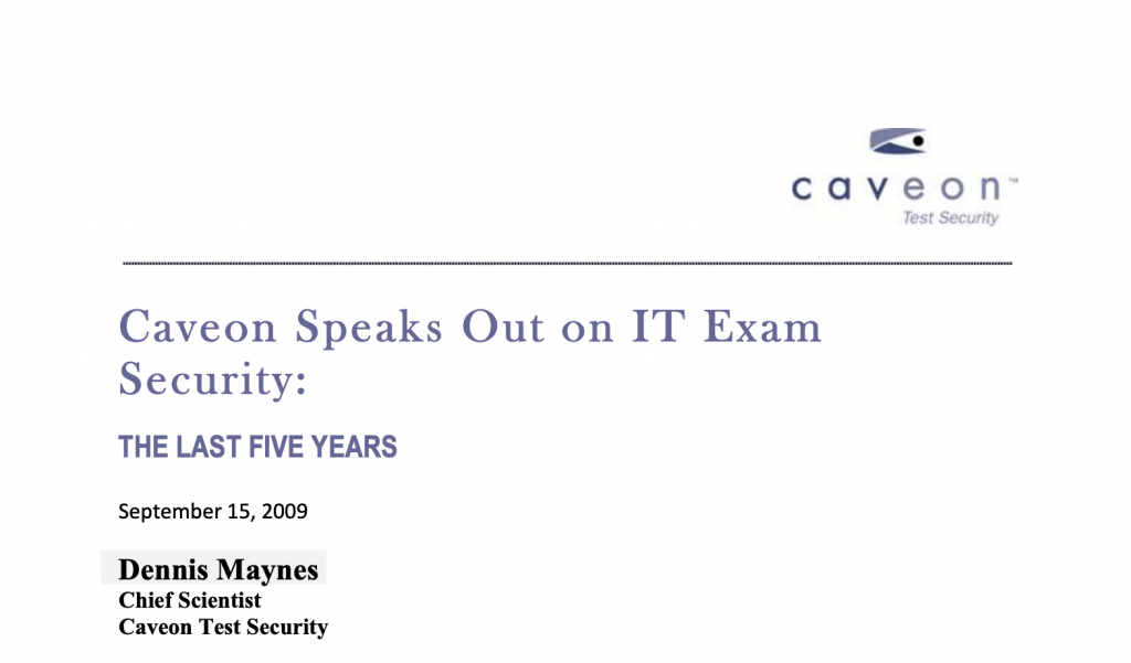 IT Exam Security: The Last Five Years, a White Paper