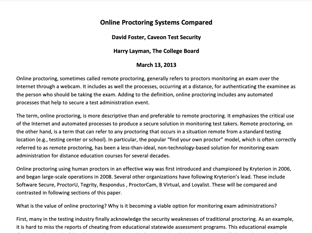 Online Proctoring Systems Compared: White Paper
