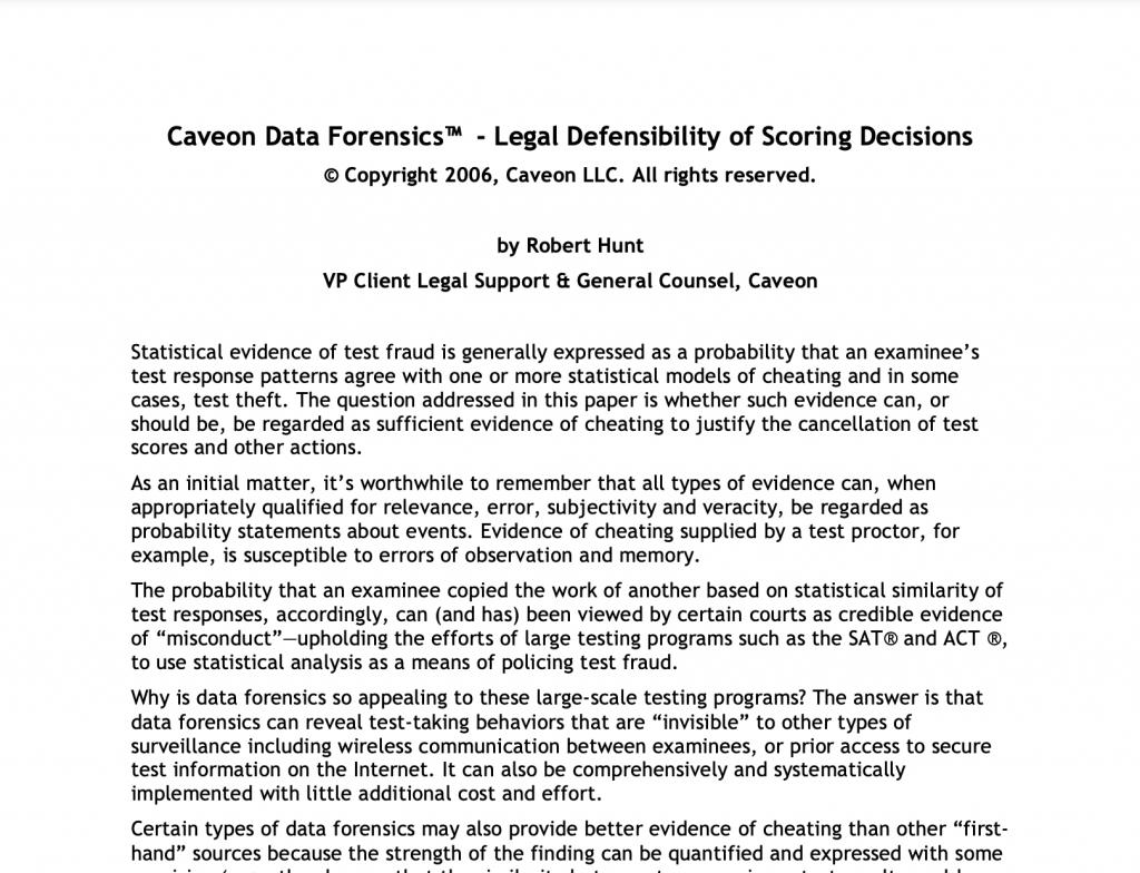 Legal Defensibility of Scoring Decisions: White Paper