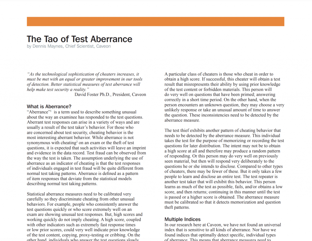 The Tao of Test Aberrance: White Paper