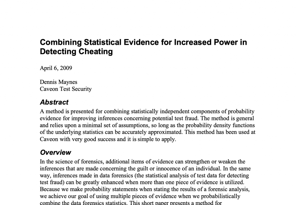 Combining Statistical Evidence for Increased Power in Detecting Cheating: White Paper