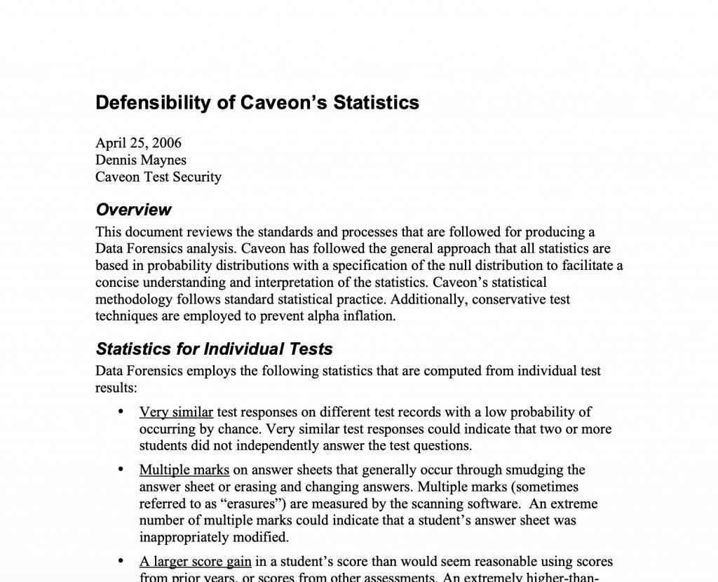 Defensibility of Caveon's Statistics: White Paper